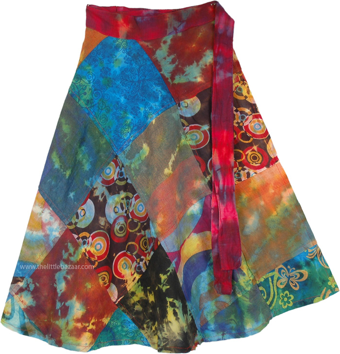 Indian Peafowl Summer Wrap Around Skirt, All The Spices Wrap Around Skirt Short