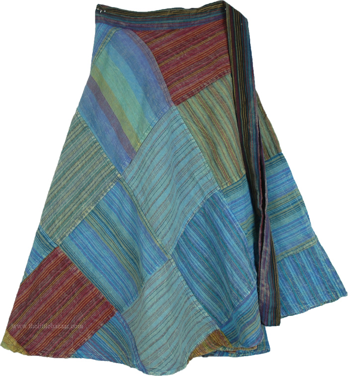 Busy Day Skirt in Blue and Green, Sweet Rain Season Wrap Around Skirt