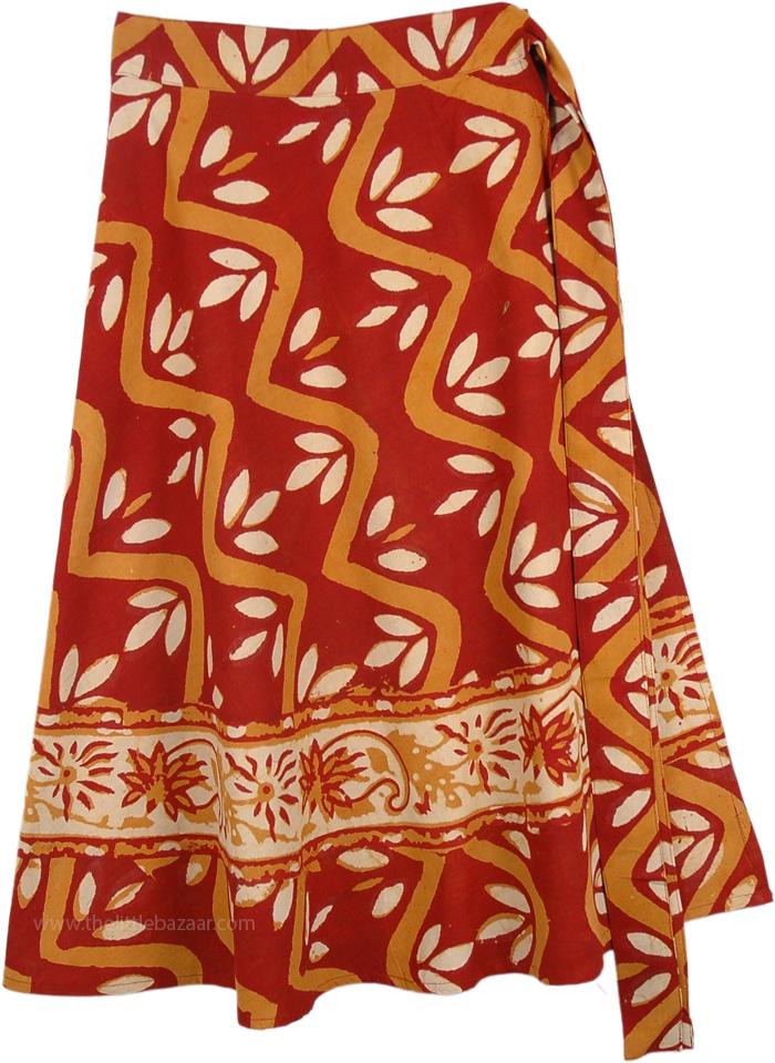Brick Red Fall Wrap Around Skirt, Autumn Leaves Wrap Around Skirt