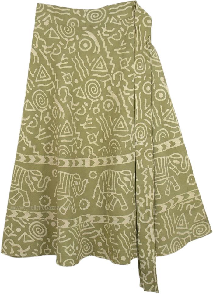Golden Elephant Parade Wrap Skirt, Elegant Elephants Wrap Around Skirt in Avocado