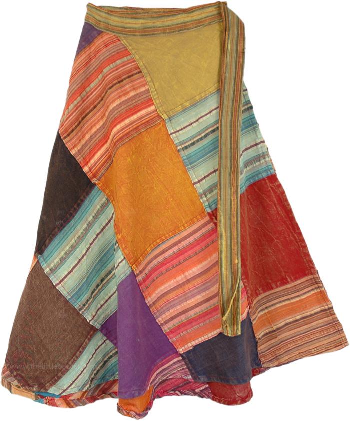 Rhythmic Pastels Wrap Around Skirt, Bohemian Rainbow Patchwork Skirt