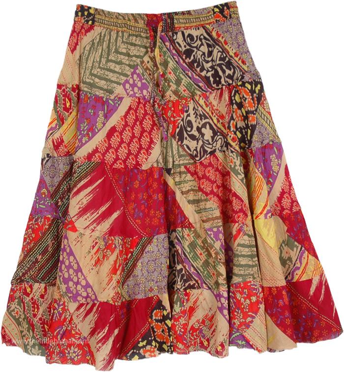 Summer Spice and Everything Nice Short Skirt, Funky Summer Short Prairie Skirt