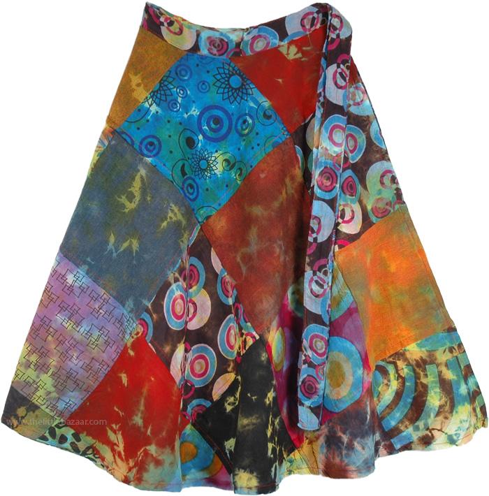 Exotic Hippie Autumn Spice Patchwork Wrap Around Short Skirt, Funky Tempo Boho Patchwork Wrap Around Skirt