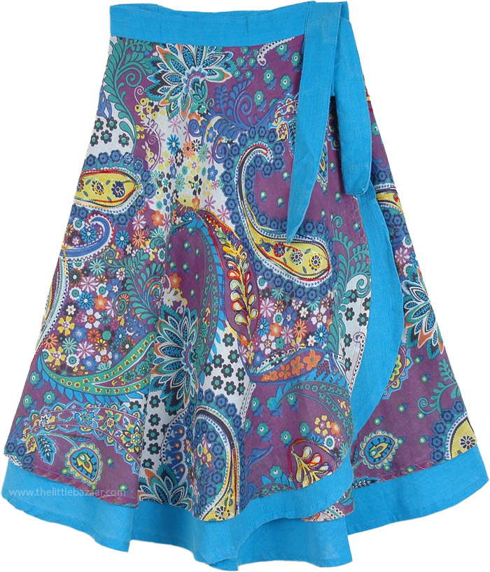 Exotic Hippie Floral Wrap Around Short Skirt in Blue, Pastel Paisley Print Wrap Around Short Skirt