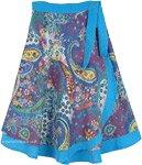 Exotic Hippie Floral Wrap Around Short Skirt in Blue [4816]