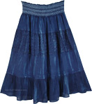 Indigo Blue Smocking Prairie Western Skirt