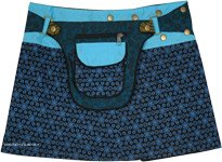 Boho Blue Reversible Snap Wrap Mini Skirt with Pockets