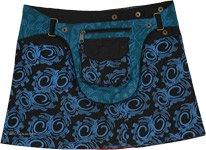 Gypsy Summer Festival Reversible Snap Wrap Mini Skirt