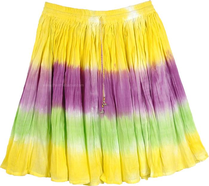 Crispy Short Skirt in Tie Dye, Sunny Short Skirt Summer Fun in Pastels