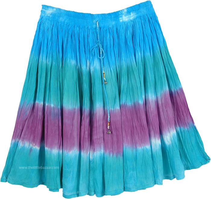 Summer Short Skirt Galapagos Island Colors, Mild Waters Tie Dye Summer Beach Mini Skirt