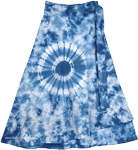 Danube Blue Cotton Wrap Around Short Skirt