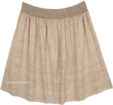 Sepia Beige Embroidered Short Gypsy Skirt with Stonewash Effect