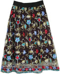 Gypsy Sheer Black Skirt with Colorful Mexican Embroidery