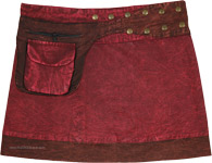 Wine Red Stonewashed Snap Wrap Short Skirt in Cotton