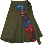 Dusky Olive Boho Short Wrap Skirt with Embroidered Patches