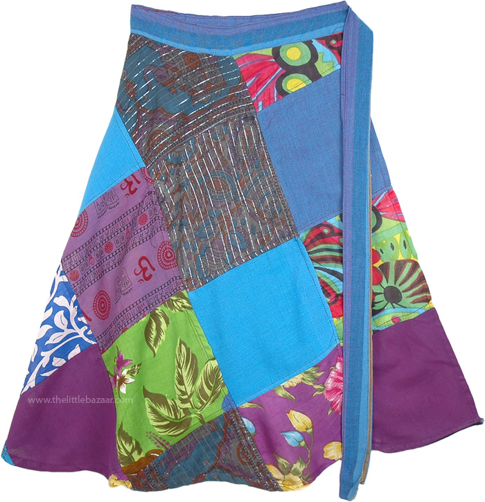 Knee Length Hippie Wrap Skirt in Blue Patchwork