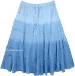 Sky Blue Ombre Knee Length Summer Skirt with Tiers