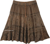 Cedar Brown Knee Length Western Skirt with Elastic Waist