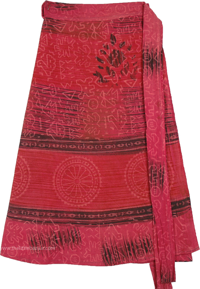 Hippie Wrap Short Skirt with Chakra in Fuchsia Pink