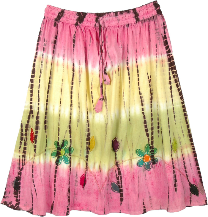 Short and Sweet Knee Length Tie Dye Cotton Skirt