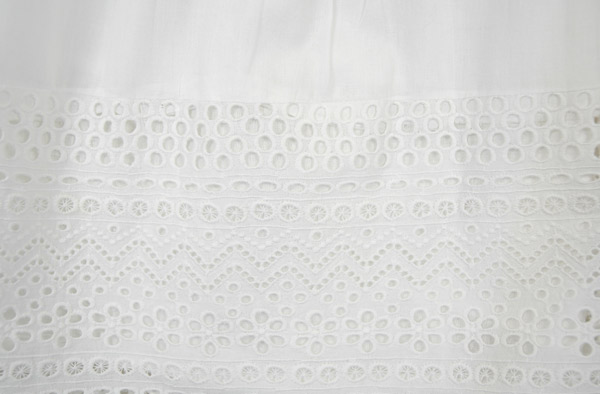 Pure White Knee Length Cotton Eyelet Skirt with Elastic Waist