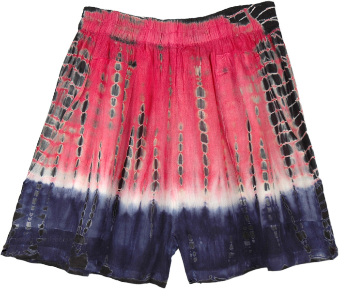 Pink Tie and Dye Boho Summer Shorts
