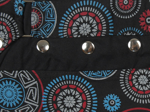Black Mandala Hippie Mini Skirt with Fanny Pack and Wrap Waist