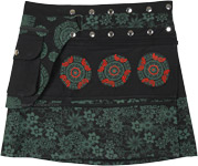 Black and Green Floral Snap Wrap Short Skirt