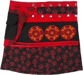Cotton Short Snap Wrap Skirt Black Red with Fanny Pack