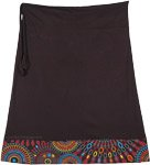 Midnight Black Short Straight Skirt with Colorful Hem