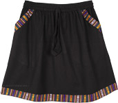 Black Short Cotton Skirt with Pocket and Woven Hem