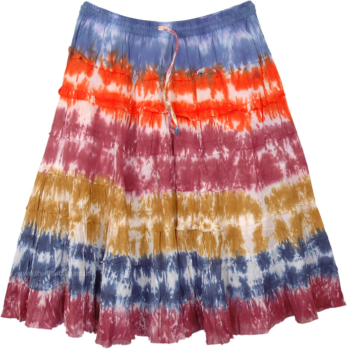 Color Bowl Tie Dye Tiered Cotton Short Skirt