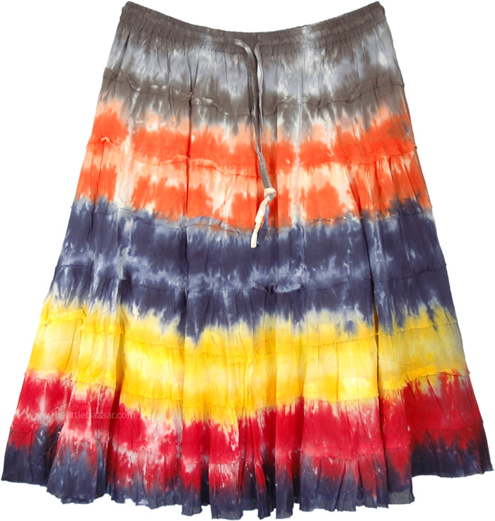 Multicolored Tie Dye Tiered Cotton Short Skirt
