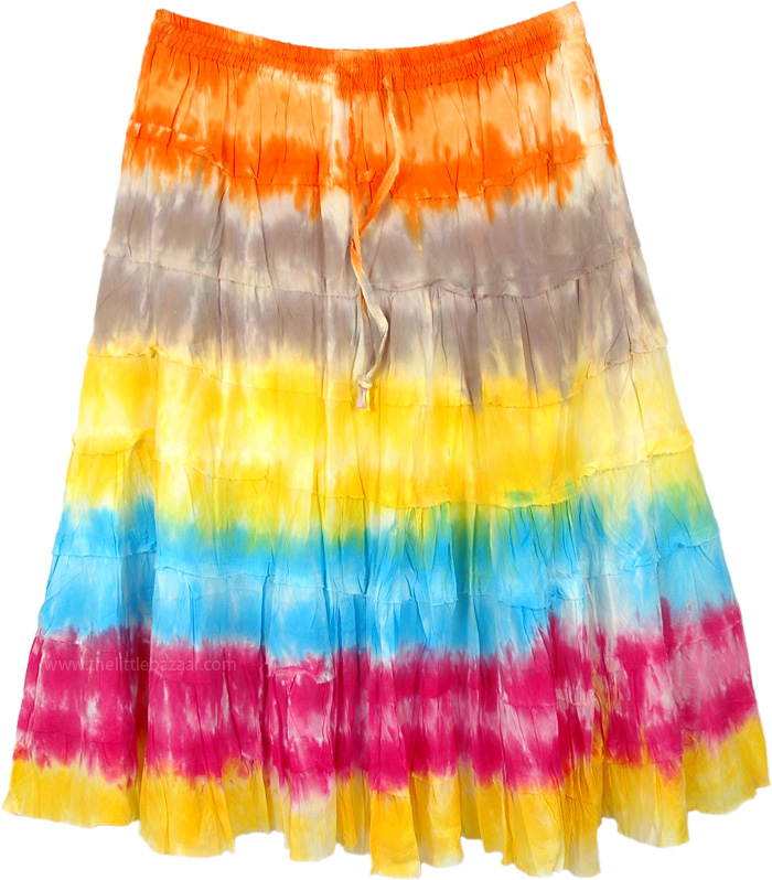 Color Carnival Tie Dye Tiered Cotton Short Skirt