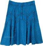 Tantalizing Teal Medieval Styled Rayon Knee Length Skirt