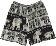 White and Black Elephant Shorts with Drawstring