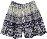 Navy Blue and White Elephant Beach Shorts