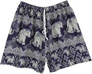 Blue Elephant Printed Thai Beach Shorts