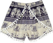 Navy Blue Cross Shorts with Pom Poms and Elephant Print