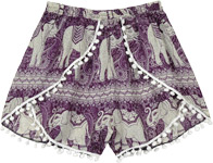 Purple Pom Pom Cross Shorts with Elephant Print