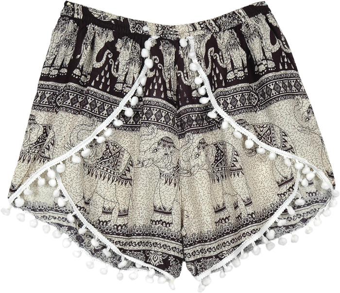 Black and White Pom Pom Cross Shorts with Elephants