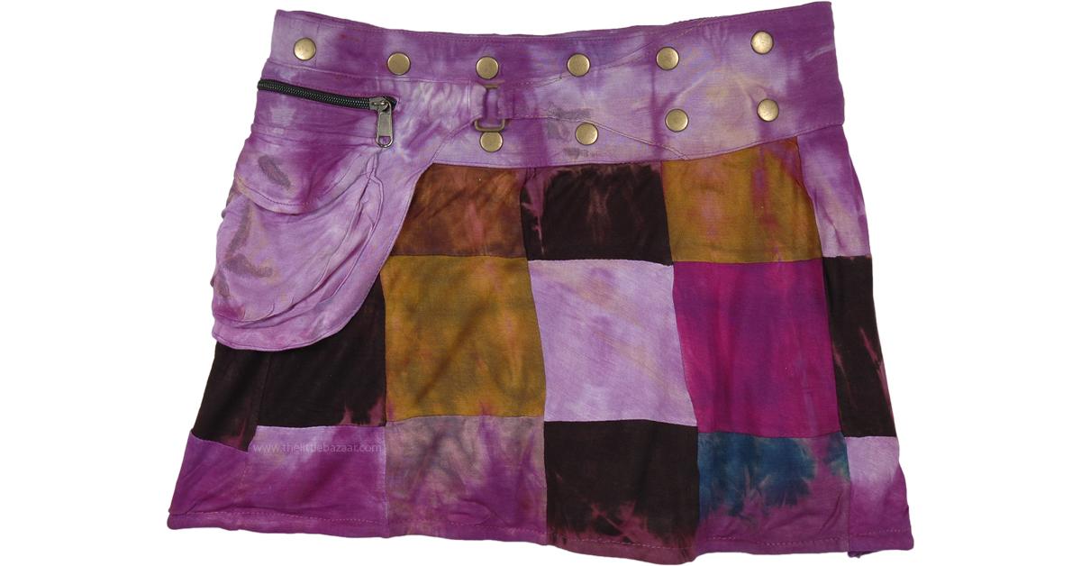 patchwork birdie button skirt