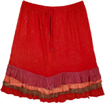 Bright Red Short Skirt with Frilled Hem and Elastic Waist
