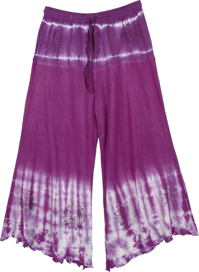 Purple Boho Tie Dye Capri in Jersey Cotton