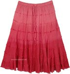 Rosy Red Ombre Tiered Summer Knee Length Skirt