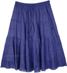 Midnight Blue Tiered Short Skirt in Cotton