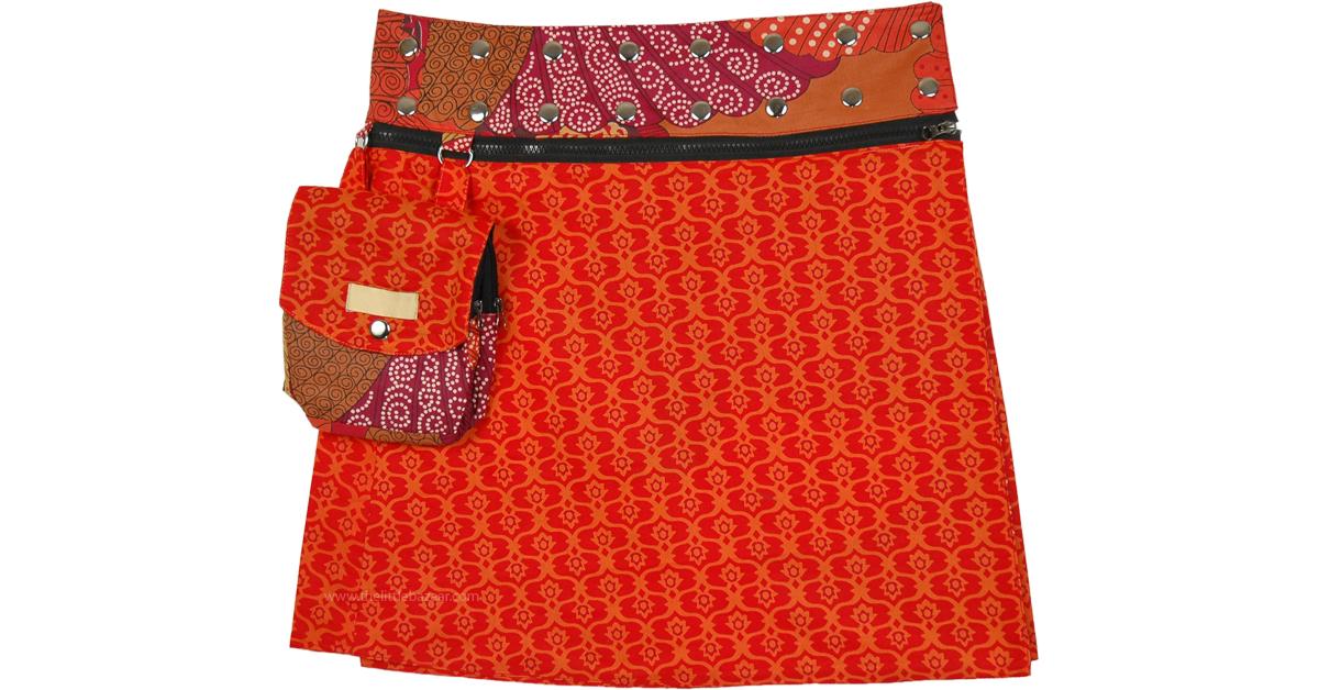 Reversible A Line Skirt Floral Print Cotton Skirt Wrap Skirt