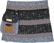 Starry Night Button Wrap Reversible Short Skirt