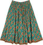 Floral Print Full Knee Length Cotton Summer Skirt