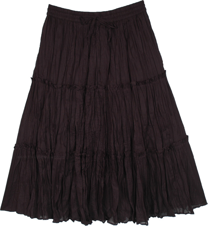 Flared Black Cotton Voile Knee Length Skirt with Crinkle